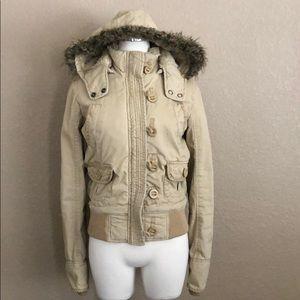 Tan Fur Lined Hooded Winter Coat
